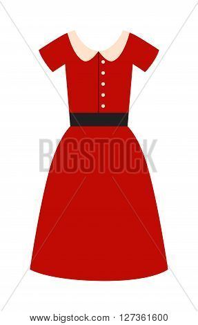 Romantic model elegance red dress fashion attractive style vector illustration. Attractive style red dress and lady sexy red dress. Woman beauty wear little red dress fashion clothes.