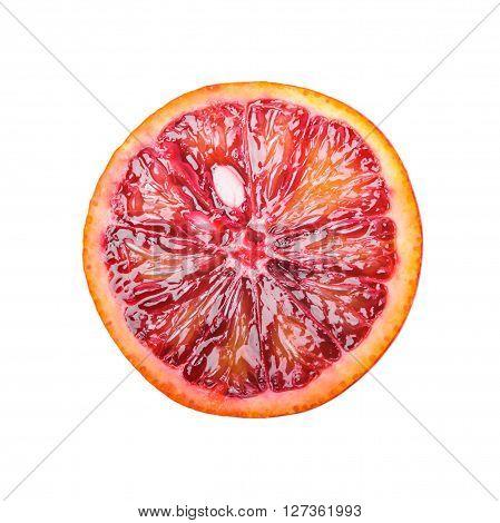 Half of red orange isolated on white background