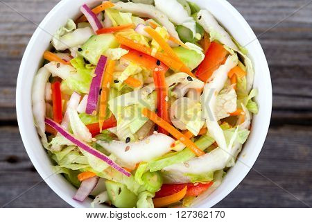 asian cabbage and lettuce fresh salad salad bowl