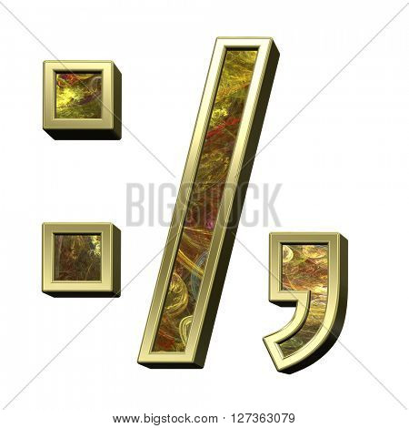 Colon, semicolon, period, comma from fractal alphabet set isolated over white. 3D illustration.