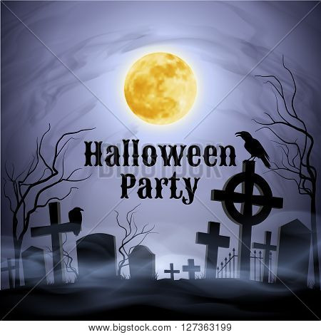 Spooky graveyard on the Halloween Night with evil raven on a celtic cross under full Moon. Have a nice Halloween Party!