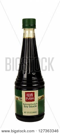 RIVER FALLS,WISCONSIN-APRIL 26,2016: A bottle of Fusia brand soy sauce. This product is distributed by Aldi Incorporated.