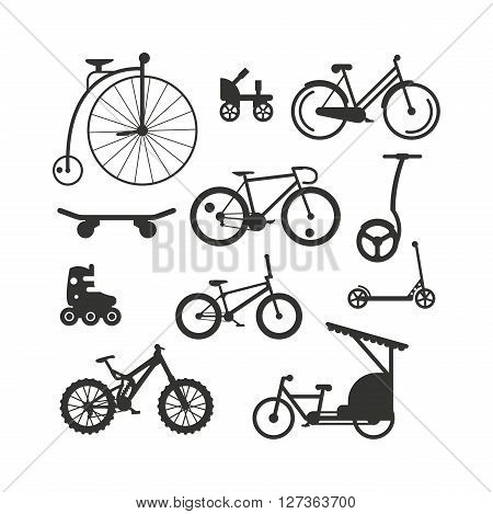 Bike black silhouette mountain, ride, transportation sport race vector. Bicycle sport vehicle and pedal bike black silhouette activity. Bike black silhouette retro ride sport, vintage bike silhouette.