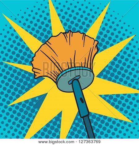 Spring cleaning broom pop art background vector illustration. Spring cleaning broom and house spring cleaning broom. Housekeeping spring cleaning broom pop art background. Housework cleaner broom.