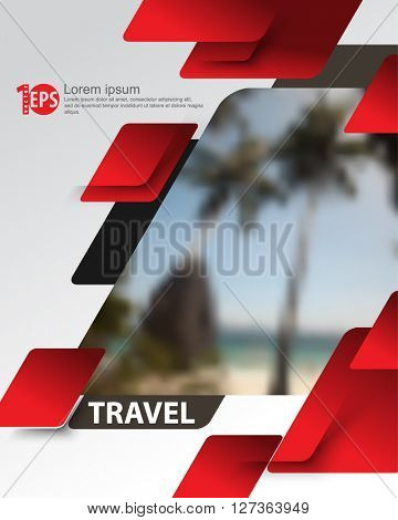 overlapping geometric elements blurred photo realistic beach background. eps10 vector