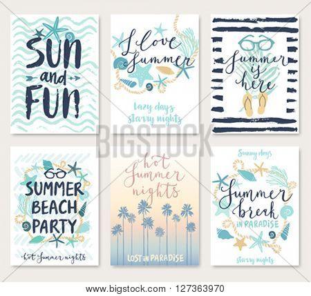 Summer hand drawn calligraphyc card set. Vector illustration.