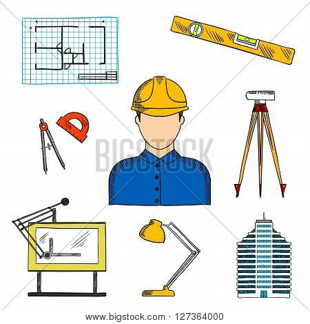 Architect or engineer in hard hat icon for construction industry design usage with colored sketches of blueprint of building project, multi storey building, automatic level, compasses, level ruler, drawing table, lamp and protractor