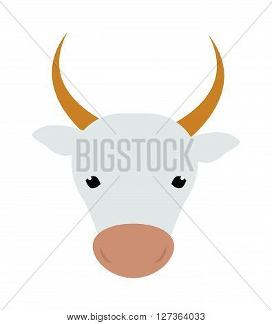 White silhouette of cow head farm animal beef mammal agriculture milk face vector illustration. Cow head animal beef and farm cow head. Cartoon flat cow head farm agriculture beast bull.