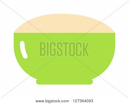 Green cereal plate healthy breakfast nutrition detailed flat vector icon. Cereal plate of food healthy breakfast nutrition and drink cereal plate ingredients for cooking. Cereal plate tasty lunch.