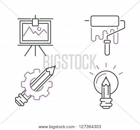 Creative idea symbol line icon concept. Power design creative idea concept, innovation creativity business idea. Creative idea  sign idea icon concept line art vector. Creative idea thin icons