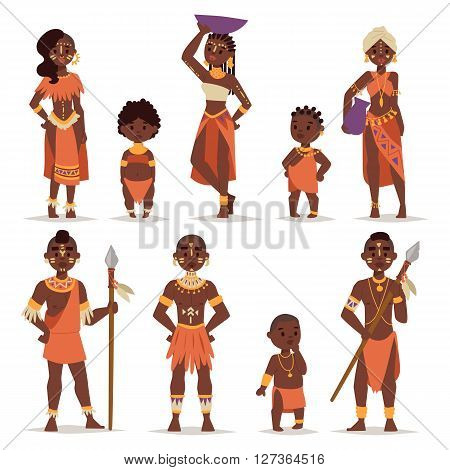 Maasai couple african people in traditional clothing happy person families vector illustration. African people family and american adult african people. African people ethnic men, women and childrens.