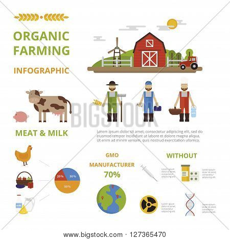 Agriculture farming organic food infographic elements concept vector. Agricultural production organic food infographic. Organic food infographic good health template design Infographic concept.