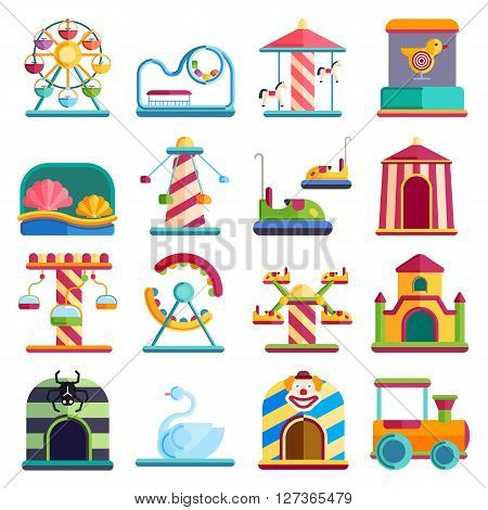 Slides and swings amusement park, ferris wheel attraction park. Carnival amusement park leisure festival ride. Flat design conceptual city elements with carousels amusement park vector illustration.