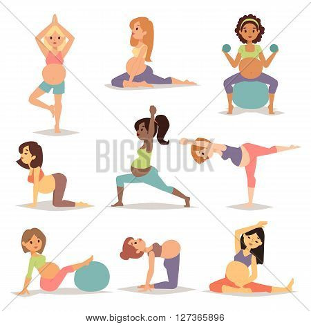 Meditating on maternity pregnant woman meditating while sitting yoga position fitness healthy lifestyle character vector. Pregnant yoga beautiful healthy lifestyle and fitness pregnant yoga.