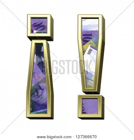 Exclamation mark from swiss franc bill alphabet set isolated over white. 3D illustration.