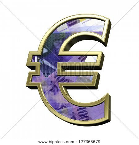 Euro sign from swiss franc bill alphabet set isolated over white. 3D illustration.