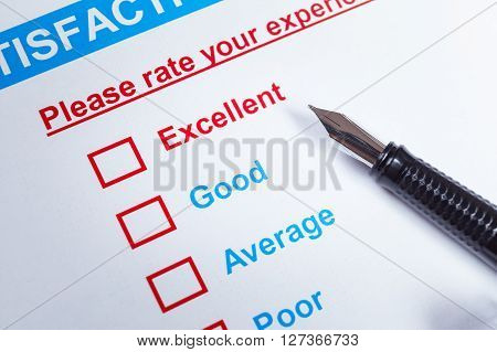 Customer Satisfaction Survey Checkbox With Rating And Pen, Can Use Any Business Concept