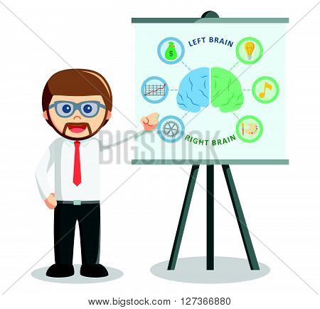 Business man giving presentation about left and right brain   .eps 10 vector illustration flat design
