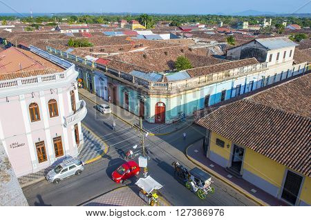 GRANADA NICARAGUA - MARCH 20 : The rooftops of Granada Nicaragua on March 20 2016. Granada was founded in 1524 and it's the first European city in mainland America