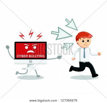 Angry cyber bullying  .eps 10 vector illustration flat design