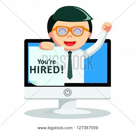 Business man hired text  .eps 10 vector illustration flat design