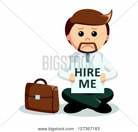 hire me business man  .eps 10 vector illustration flat design