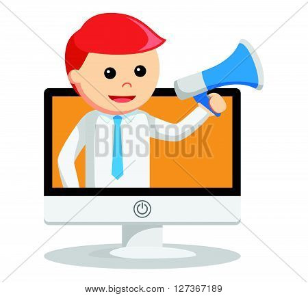 Business man broadcast the message  .eps 10 vector illustration flat design
