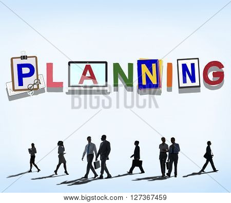 Planning Colorful Word Plan Strategy Business Concept