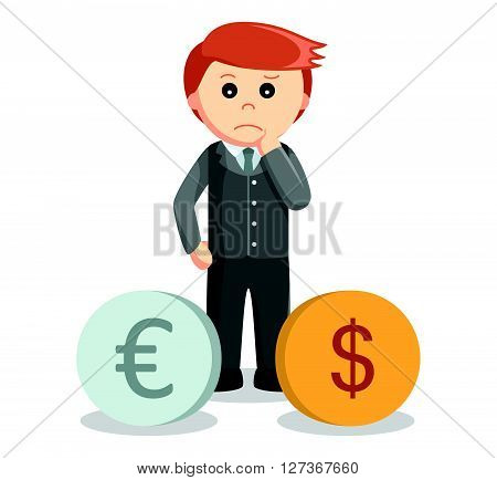Business man euro dollar problem  .eps 10 vector illustration flat design