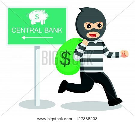 Bank thief illustration  .eps 10 vector illustration flat design