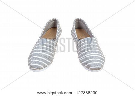 Pair Sneakers, Grey White Strip Color Isolated Background