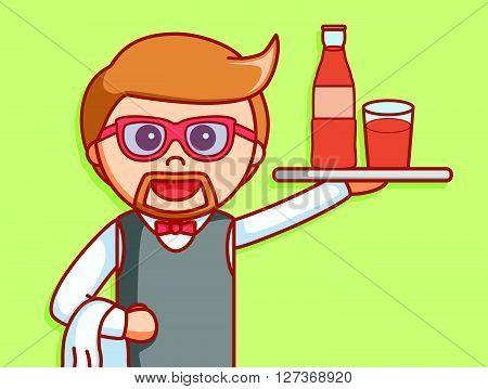 Waiter beverage  illustration design  .eps 10 vector illustration flat design