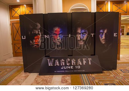 LAS VEGAS - April 13 : A display for the movie 'Warcraft' at Caesars Palace during CinemaCon the official convention of the National Association of Theatre Owners on April 13 2016 in Las Vegas