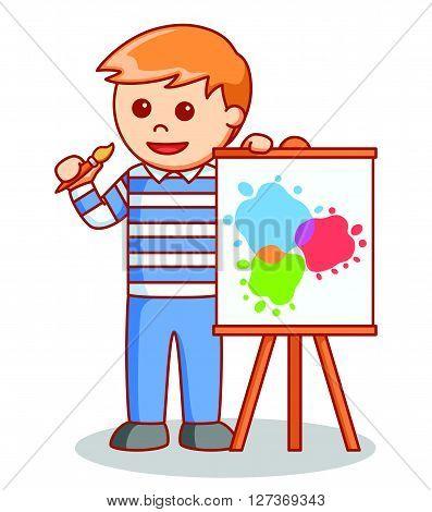 Painter man illustration  .eps 10 vector illustration flat design