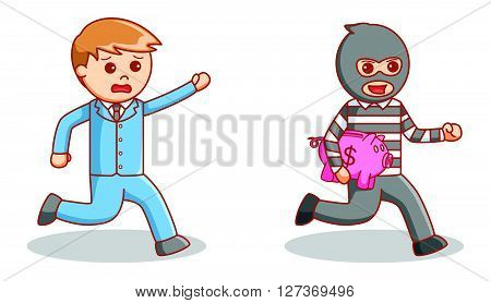 Piggy bank thief  .eps 10 vector illustration flat design