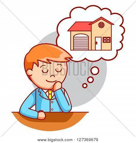 Husband thinking home  .eps 10 vector illustration flat design