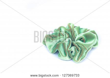 Hair rubber band on white background, stock photo