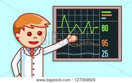 Doctor showing heart beat report  .eps 10 vector illustration flat design