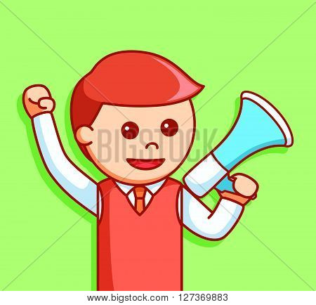 man using megaphone  .eps 10 vector illustration flat design