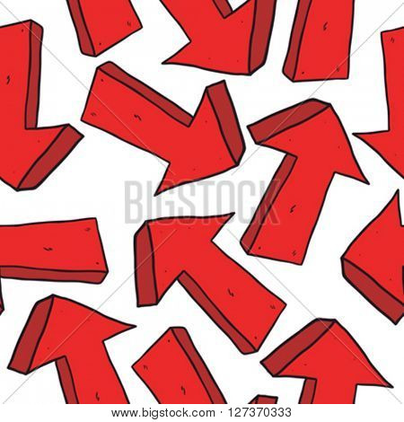 red pointing arrow seamless pattern