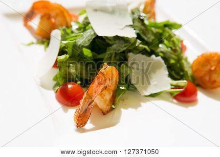 Fres tasty summer Shrimp salad on plate