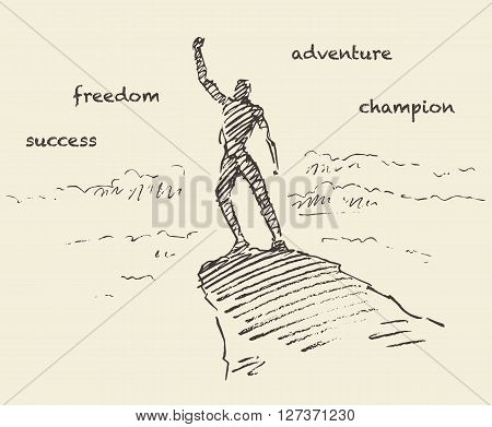 Hand drawn vector illustration, silhouette of a successful climber on a mountain, sketch