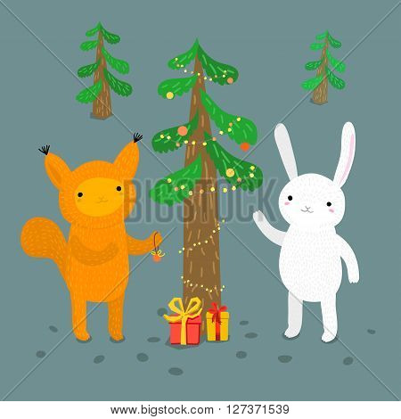 Holiday illustration with a cute animals. Christmas card with nice cartoon character. Winter greeting card.