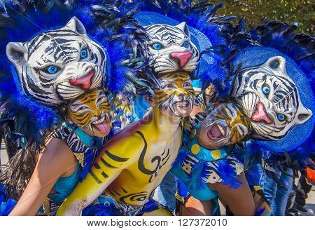BARRANQUILLA COLOMBIA - FEB 07 : Participants in the Barranquilla Carnival in Barranquilla Colombia on February 07 2016. Barranquilla Carnival is one of the biggest carnival in the world