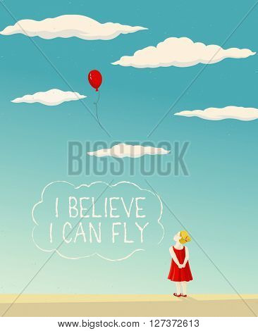 Little girl - the child, looks at the flying a balloon and dreams to fly.