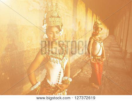 Traditional Apsara Dancers Cambodia Concept