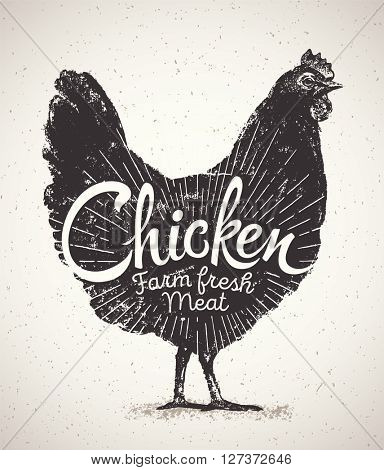 Graphical silhouette chicken and inscription. Vector illustration, drawn by hand.