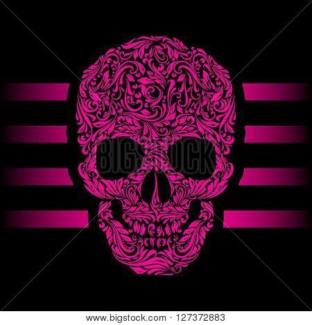 Floral pattern of form pink skull. Pink stripes. Emo