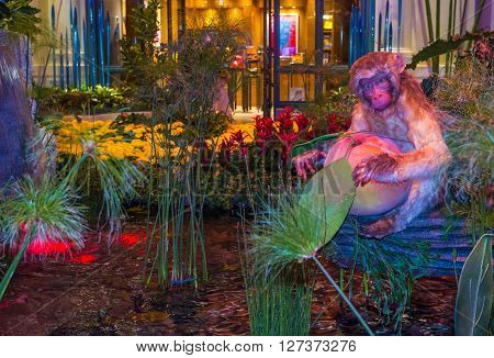 LAS VEGAS - FEB 14 : Chinese New year in Bellagio Hotel Conservatory & Botanical Gardens on Februery 14 2016 in Las Vegas. There are five seasonal themes that the Conservatory undergoes each year.