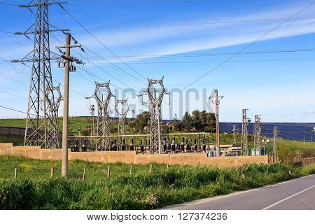 View of the electrical substation in the territory of Enna